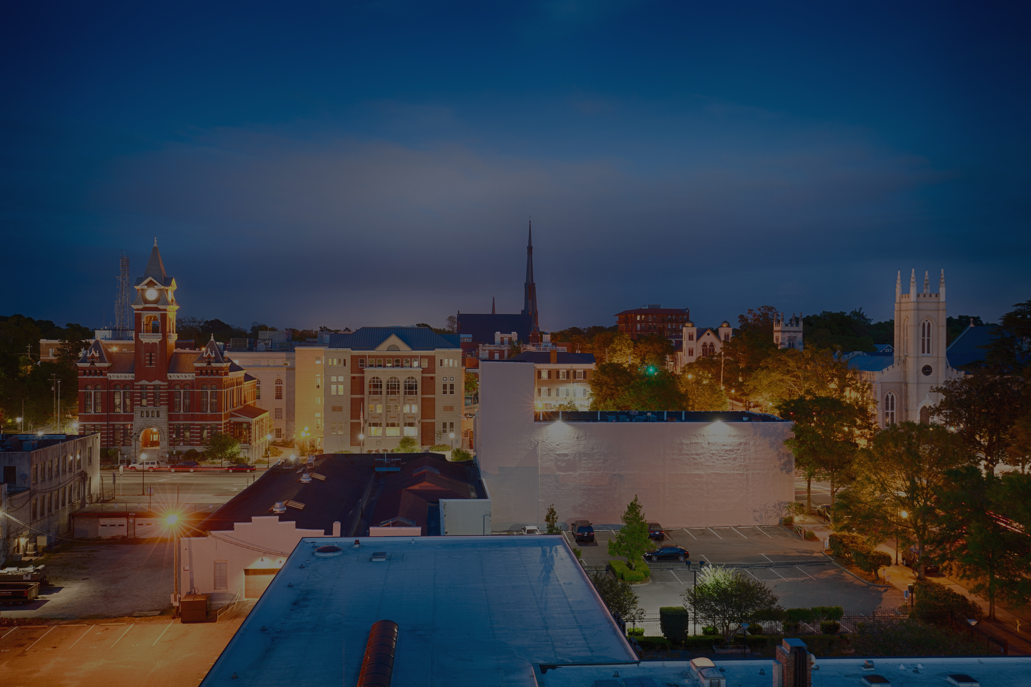 Downtown Wilmington, NC at night.